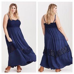 Torrid Empire Waist Lace Inset Gauze Maxi Dress